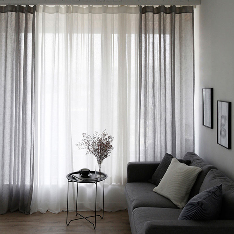 Modern Linen Custom Living Room Solid Color Sheer Curtains White Gray Net Curtains Breathable and Ultraviolet-Proof