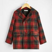 Mantel mit eingekerbtem Kragen, Knopfen vorn und Plaid Muster