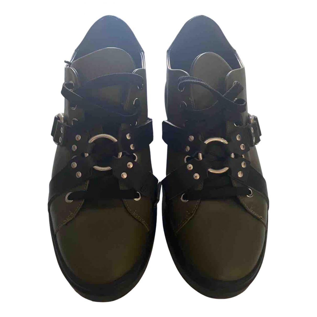 Moschino N Green Leather Trainers for Men 42 EU