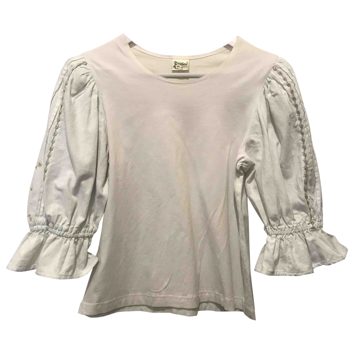 Non Signé / Unsigned Hippie Chic White Linen  top for Women M International