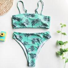 Chinese Dragon Print High Waisted Bikini Swimsuit