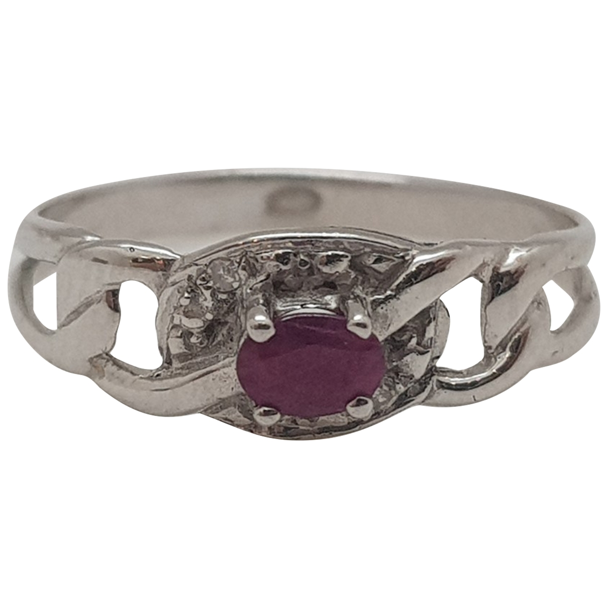 Non Signe / Unsigned Rubis Ring in  Weiss Weissgold