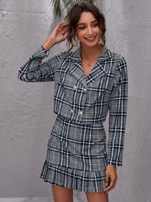 Plaid Double Breasted Blazer With Ruffle Hem Skirt