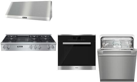 4-Piece Kitchen Appliances Package with KMR1355LP 48 Liquid Propane Rangetop (6 Burners  Grill)  DAR1250 48 Wall Mount Hood  H68802BP 30 Single