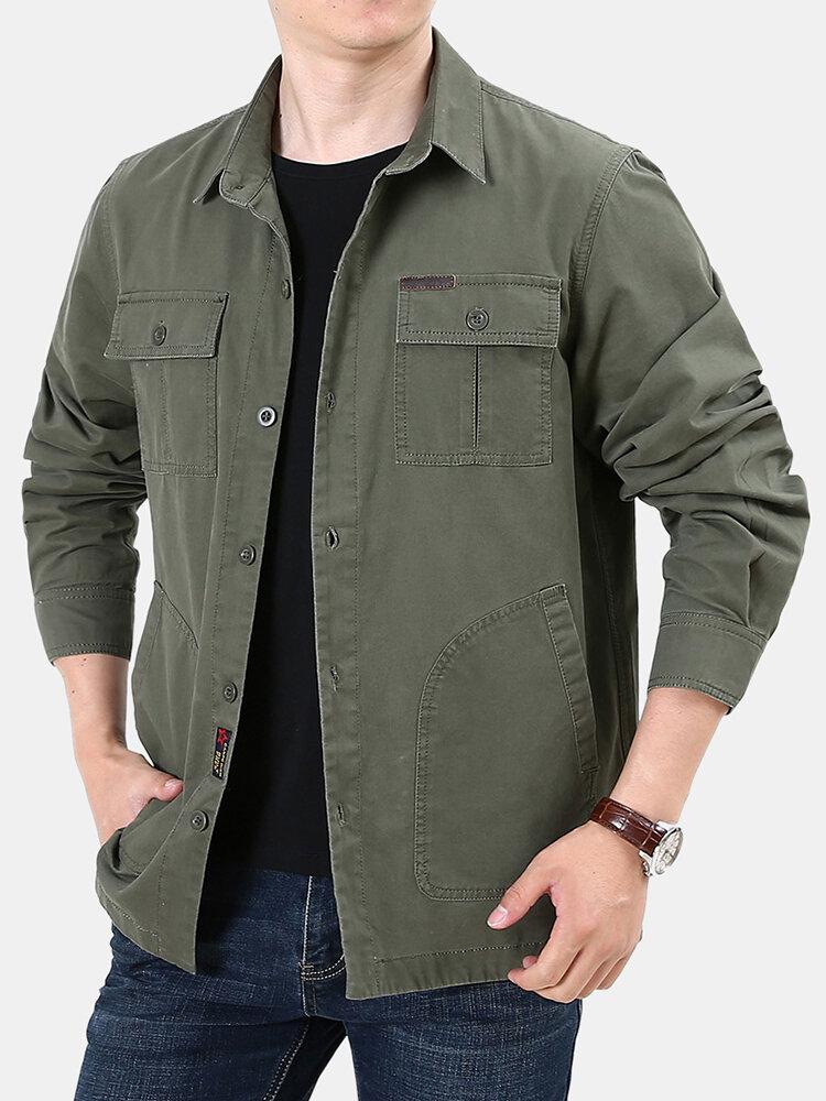 Mens Plain Chest Pocket Patchwork Turn Down Collar Long Sleeve Cargo Jackets