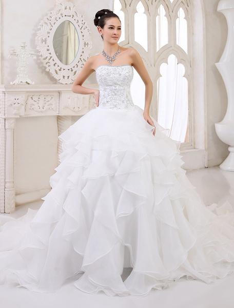 Milanoo Ivory Wedding Dress Tiered Strapless Lace Up Rhinestone Wedding Gown