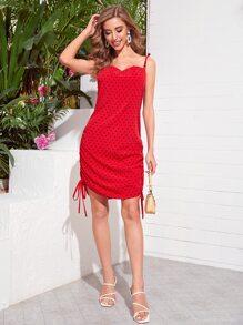 Heart Print Drawstring Ruched Cami Dress