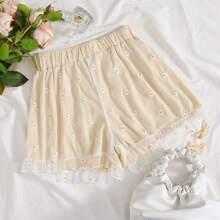 Ruffle Hem Embroidered Flower Mesh Overlay Shorts