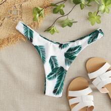 Palm Print High Cut Bikini Panty