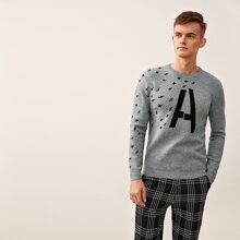 Guys Plane & Letter Graphic Sweater