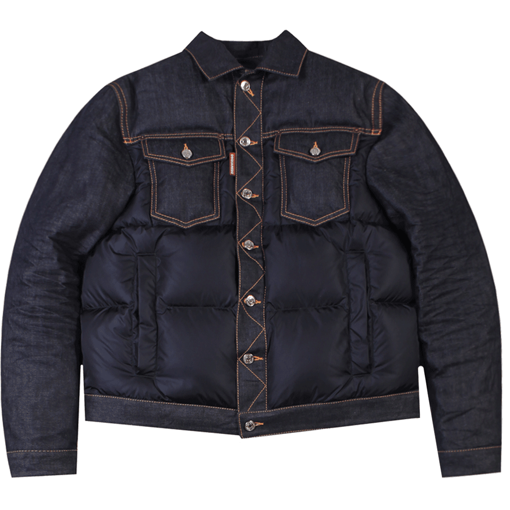 Dsquared2 Denim Puffer Jacket Colour: NAVY, Size: EXTRA EXTRA LARGE