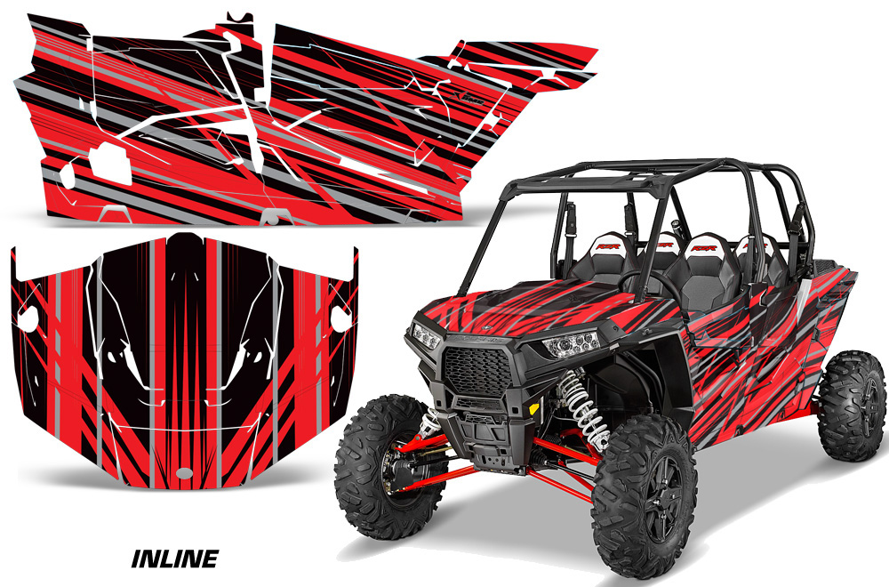 AMR Racing Full Custom UTV Graphics Decal Kit Wrap Inline Red Polaris RZR XP4 1000 13-18