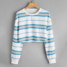 Striped Print Crop Drop Shoulder Sweatshirt
