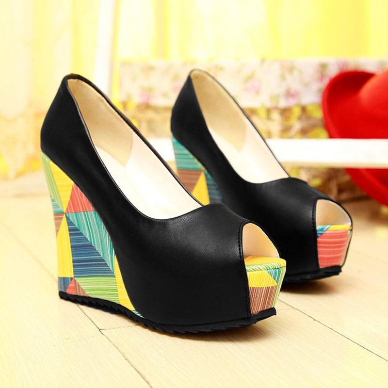 Ericdress Platform Wedge Heel Peep Toe Sweet Thin Shoes