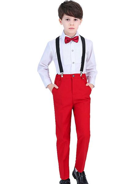 Milanoo Trajes de portador de anillo Camisa de manga larga de algodon Pantalon de corbata Trajes de fiesta formales para niños 3pcs
