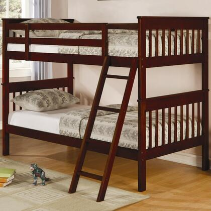 Parker Collection 460231 Twin Over Twin Bunk Bed with Guard Rails  Ladder and Solid Pine Wood Construction in Chestnut