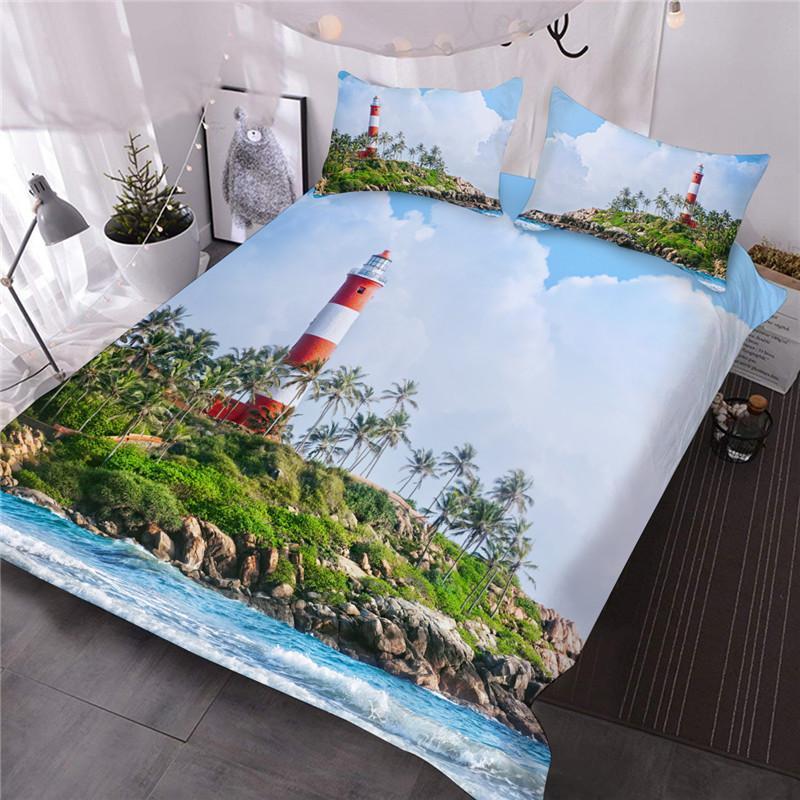 3D Lighthouse Sea Scenery Printed Blue Reactive Printing Machine Wash Comforter Set Three-Piece Set Polyester Bedding Sets