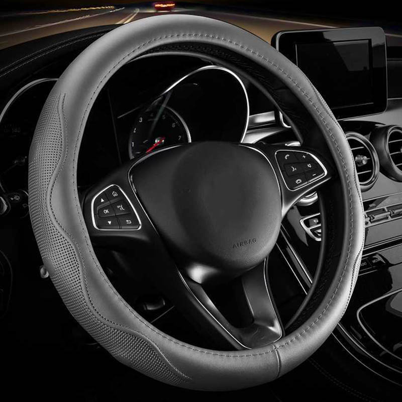 Cowhide Leather Car Steering Wheel Cover Silicone Four Seasons Handlebar Cover