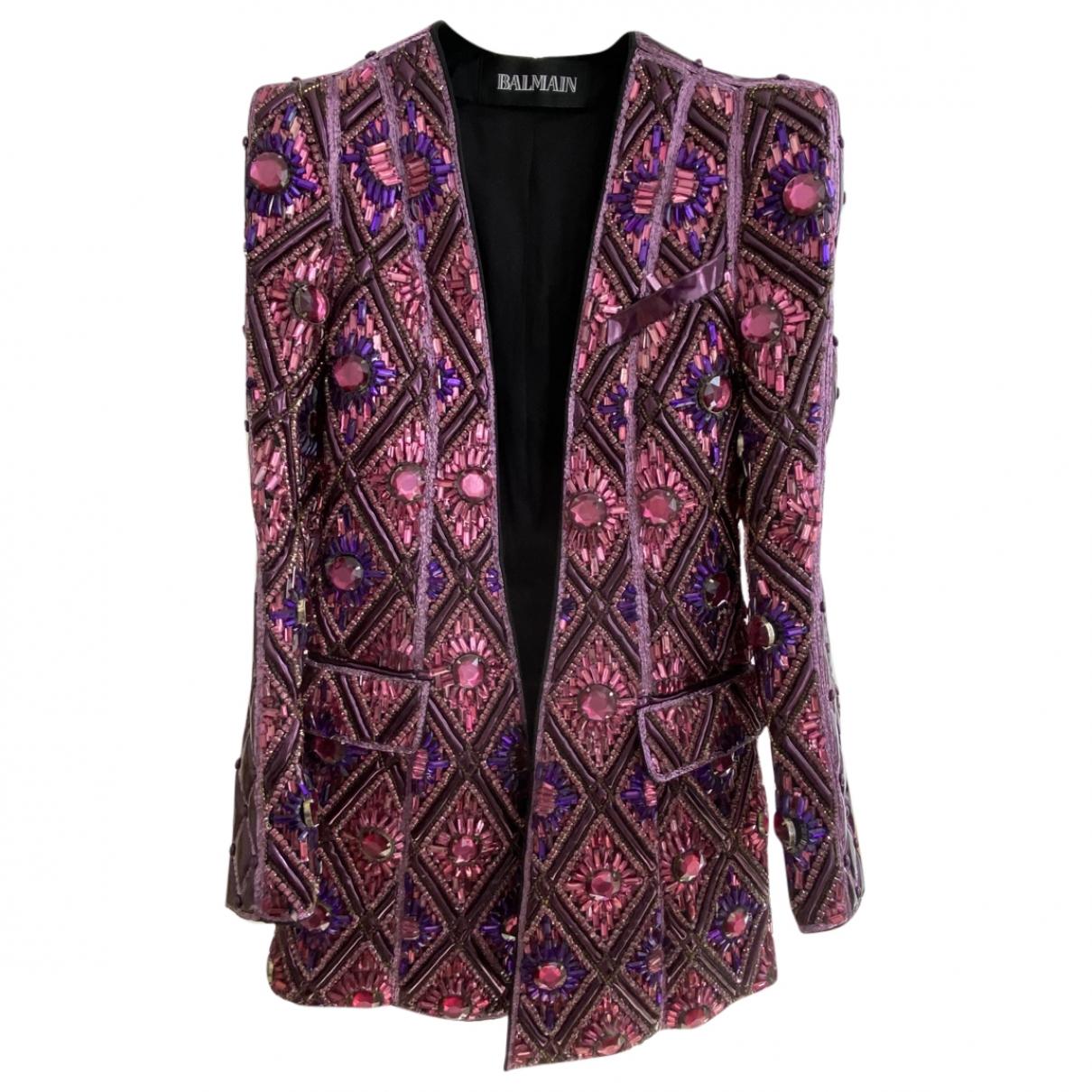 Balmain - Veste   pour femme en cuir - multicolore
