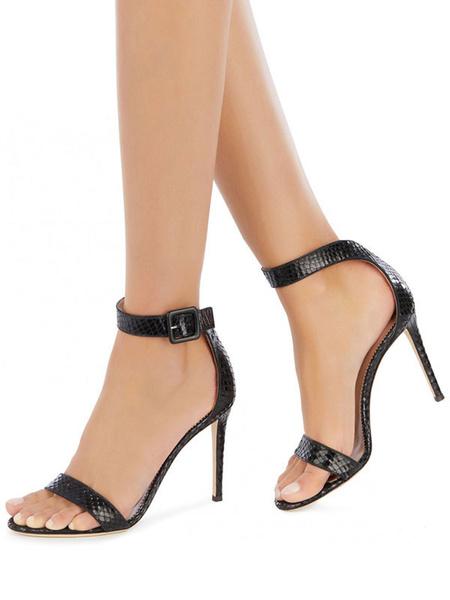 Milanoo High Heel Sandals Womens Black Snakeskin Open Toe Ankle Strap Stiletto Heel Sandals