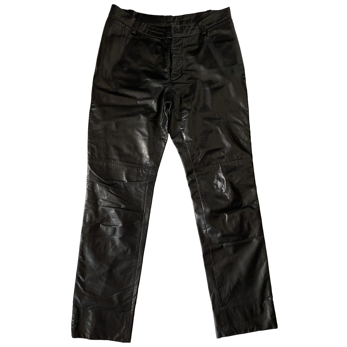 Costume National \N Black Leather Trousers for Men 50 IT