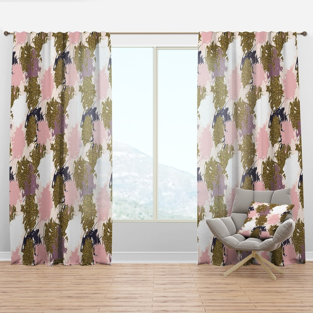 Designart 'Pink, Purple and Golden Glitter Stains' Modern & Contemporary Curtain Panel (50 in. wide x 90 in. high - 1 Panel)
