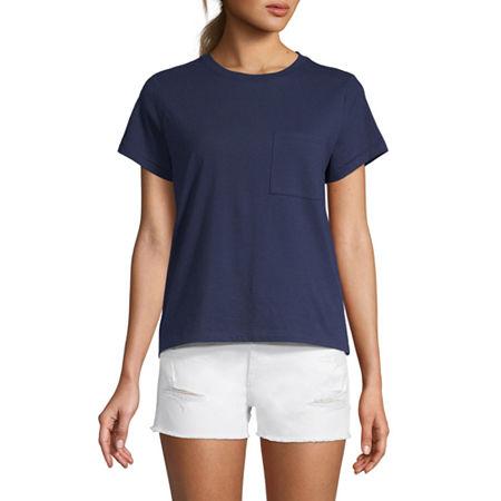 Arizona Juniors-Womens Crew Neck Short Sleeve T-Shirt, X-small , Blue