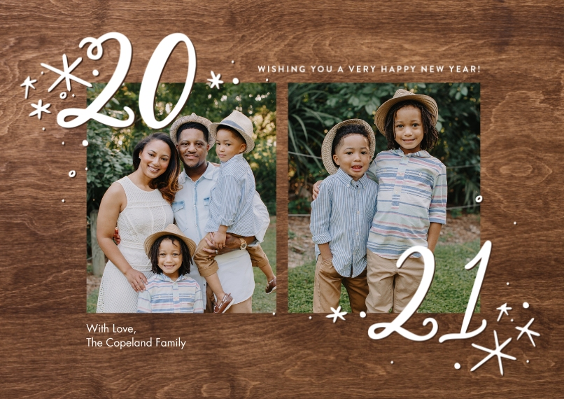 New Years Photo Cards 5x7 Cards, Standard Cardstock 85lb, Card & Stationery -2021 Stars by Tumbalina