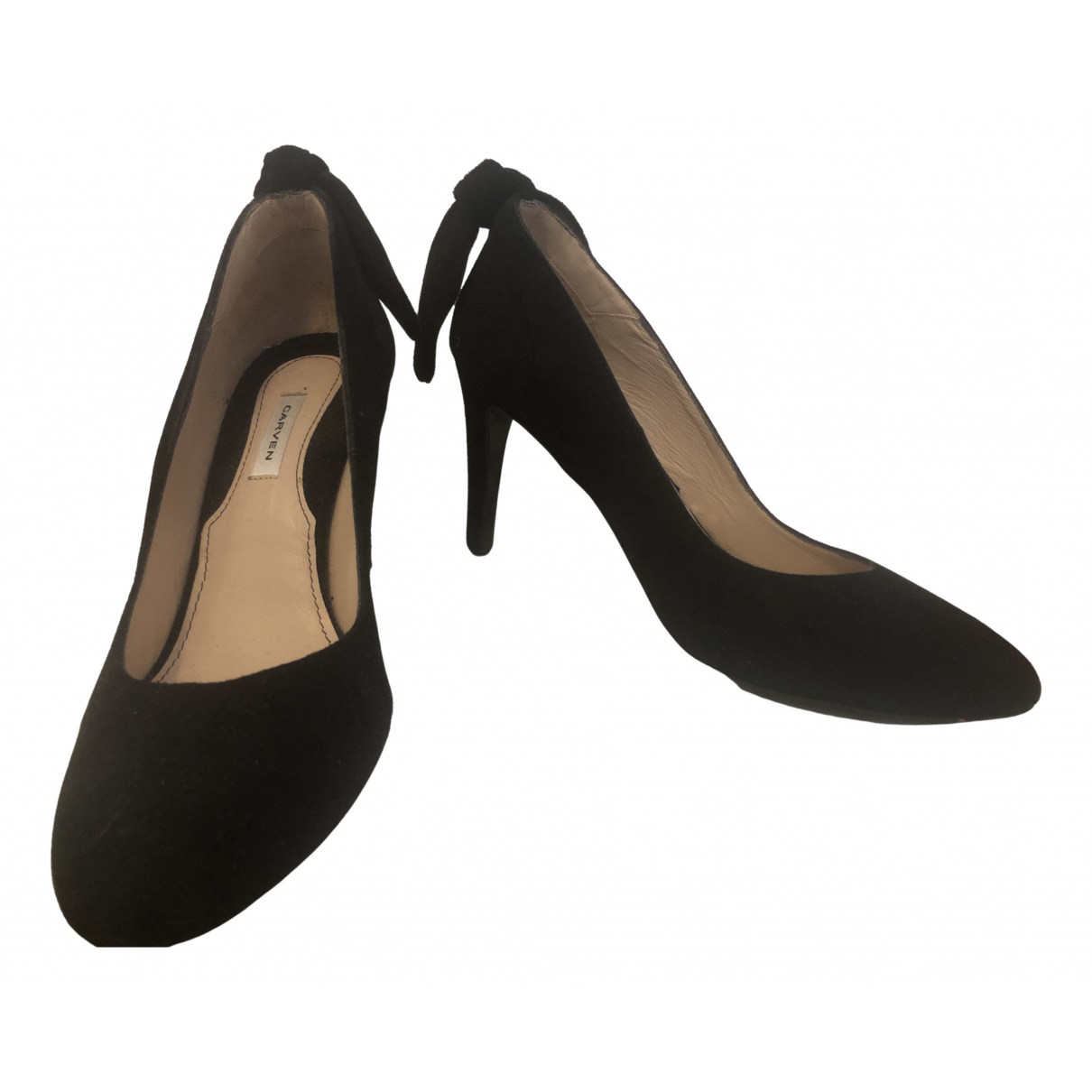 Carven N Black Suede Heels for Women 40 EU