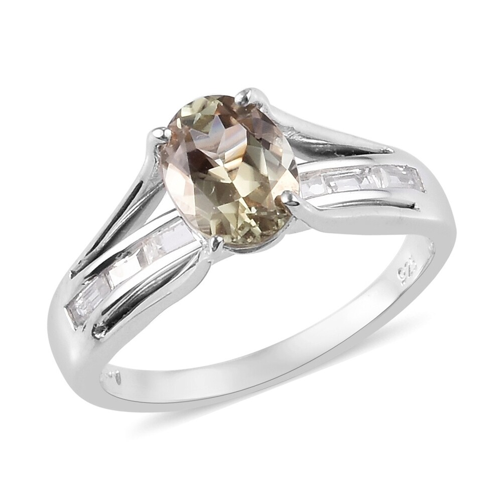 Platinum Over Sterling Silver AAA Turkizite Zircon Ring Size 9 Ct 3.5 - Ring 9 (Multi - Ring 9)