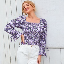 Floral Print Frill Trim Shirred Blouse