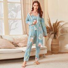 3 Stuecke Schlafanzug Set mit tropischem Muster und Guertel