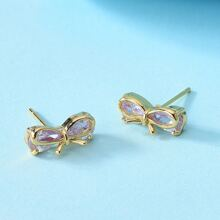 Gemstone Decor Bow Stud Earrings