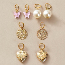 4pairs Butterfly & Heart Drop Earrings