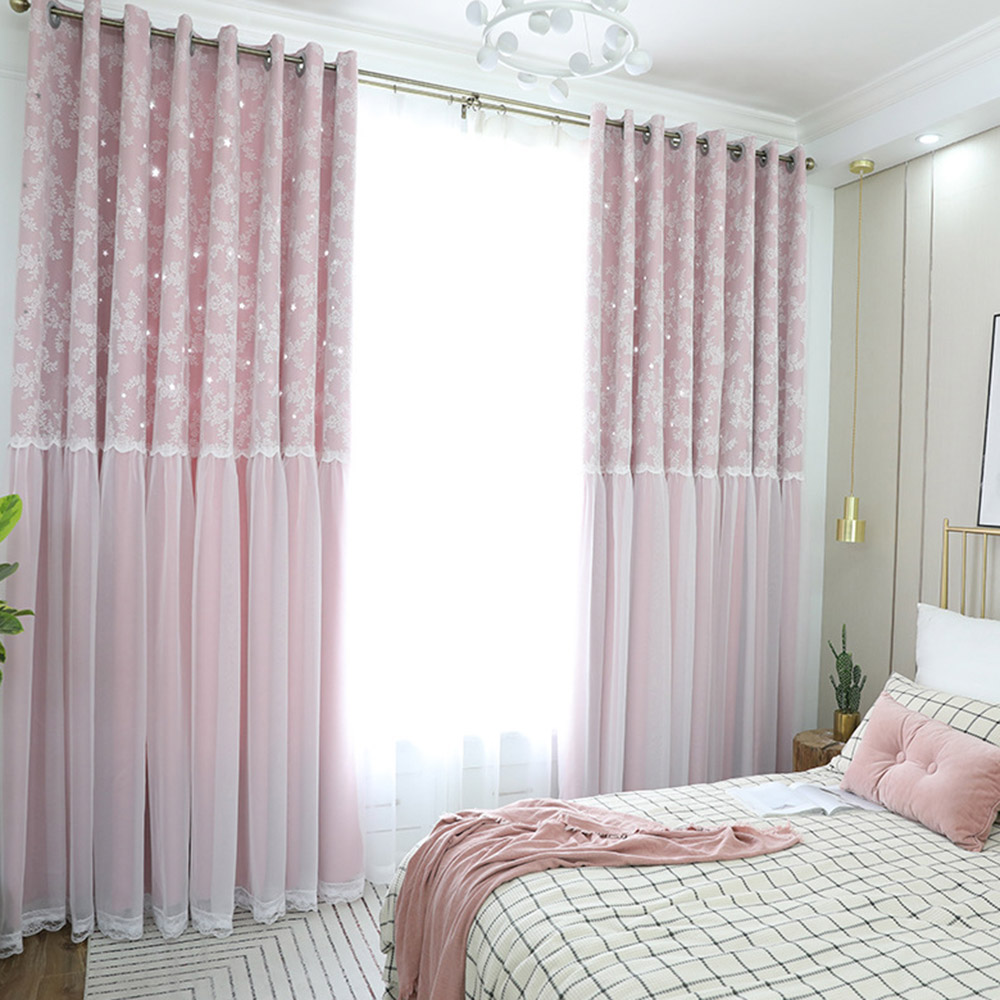 Romantic Star Hollowed-out Blackout Decorative Curtain Sets with Lace Custom 2 Panels Drapes No Pilling No Fading No off-lining
