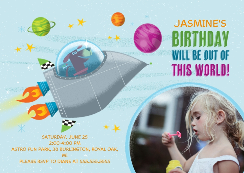 Kids Birthday Party Invites 5x7 Cards, Premium Cardstock 120lb with Rounded Corners, Card & Stationery -Space Dog Birthday