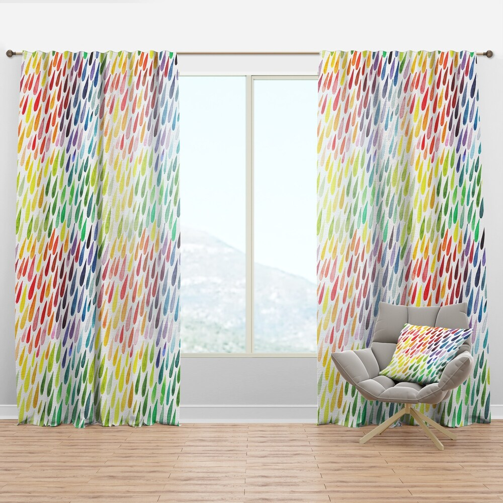 Designart 'Collection of Paint Splash Watercolor Drops' Modern & Contemporary Curtain Panel (50 in. wide x 63 in. high - 1 Panel)
