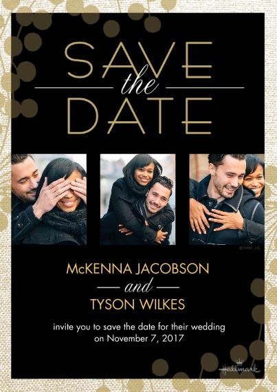 Save the Date 5x7 Cards, Premium Cardstock 120lb with Rounded Corners, Card & Stationery -Black and Gold Save the Date Photo