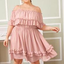 Plus Cold Shoulder Layered Frill Trim Dress