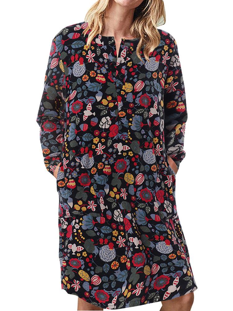 Women Floral Print Pockets Vintage Shift Dress