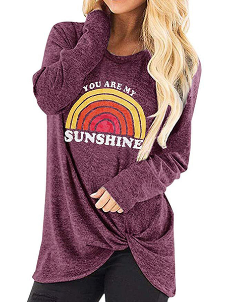 Yoins Casual Graphic Twisted Design Crew Neck Long Sleeves Tee