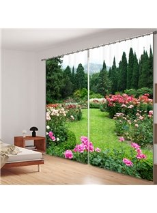 Vibrant Green Garden with Pink Printing Custom Living Room 3D Curtain