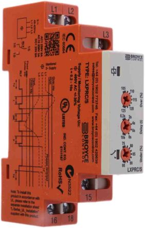Broyce Control Phase, Voltage Monitoring Relay With SPDT Contacts, 400 V ac Supply Voltage, Overvoltage, Undervoltage