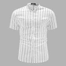 Men Mock-Neck Striped Shirt