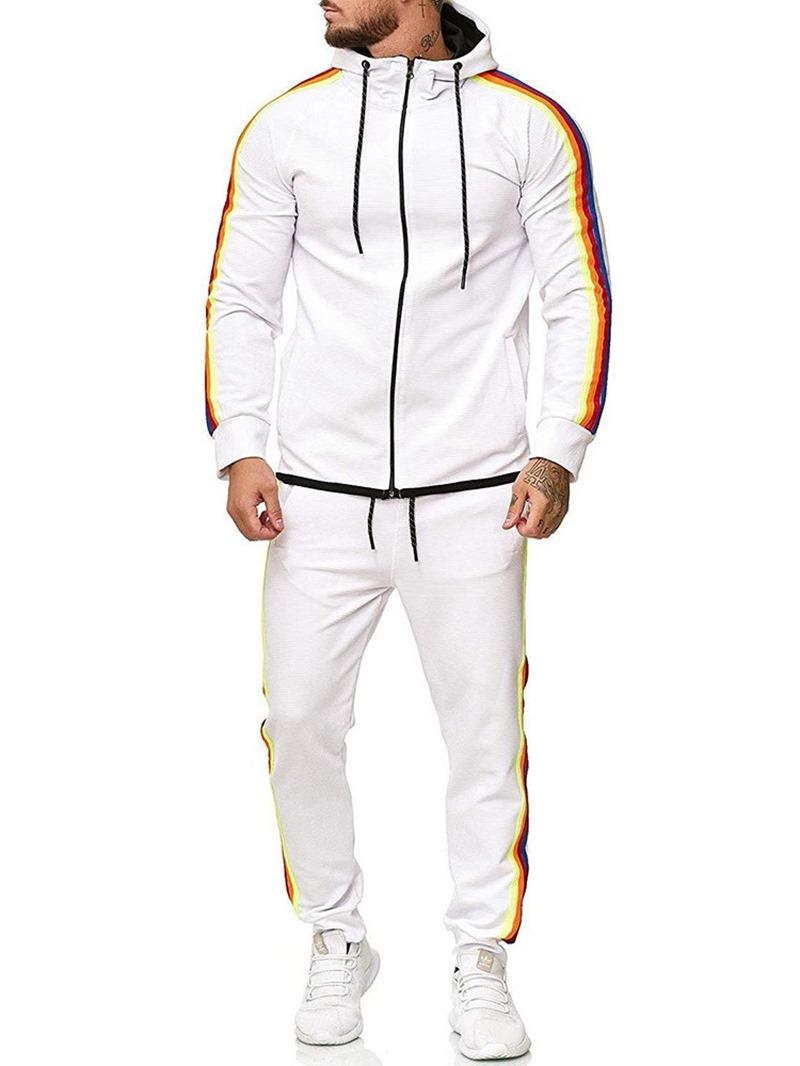 Ericdress Color Block Zipper Men's Casual Outfit