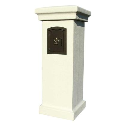 MAN-STUCOL-SS Manchester NON-LOCKING Stucco Column Mailbox in Sandstone