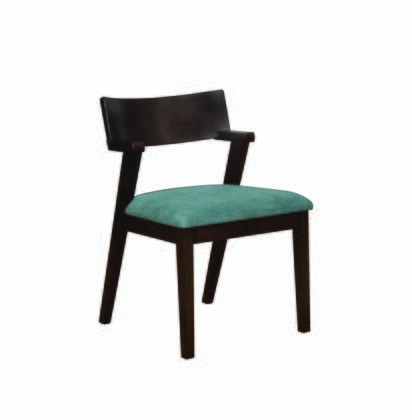 BM196232 Wooden Dining Chair with Fabric Upholstered Padded Seat  Teal Blue and Brown  Set of
