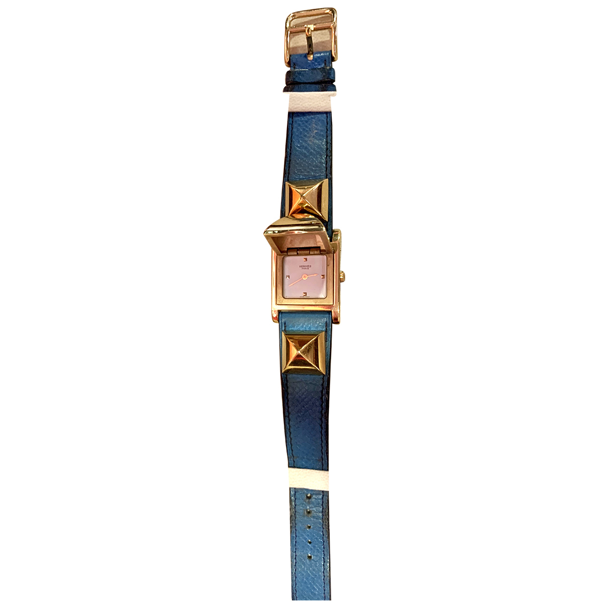 Hermes - Montre Medor pour femme en acier - bleu