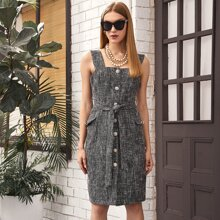 Button Front Belted Tweed Dress
