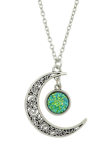 Milanoo Moon Pendant Necklace Women Jewelry Valentine Gift